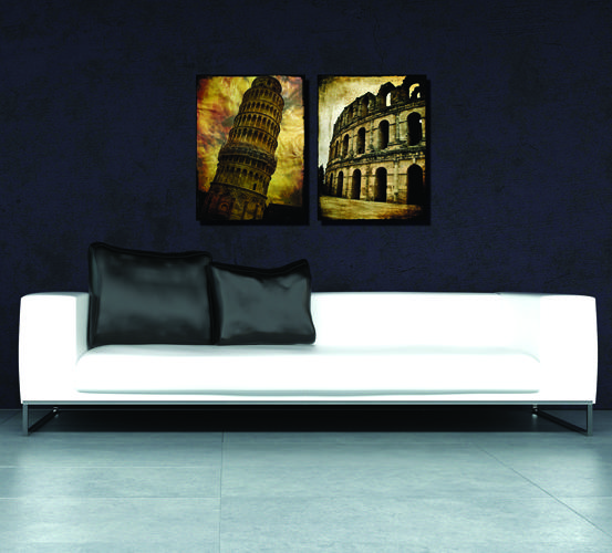 2 Pieces Free shipping Home decoration Paint on Canvas Print LeaningTower of Pisa Colosseum House mountain area church European architecture