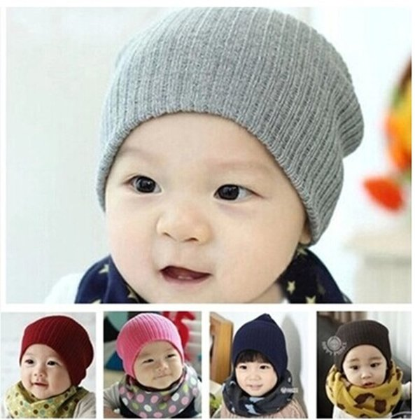 top popular 2016 Baby solid color wool Knitted caps Newborn autumn winter warm Cute Hats Kids Boys Girls 12candy colors for choose 2019