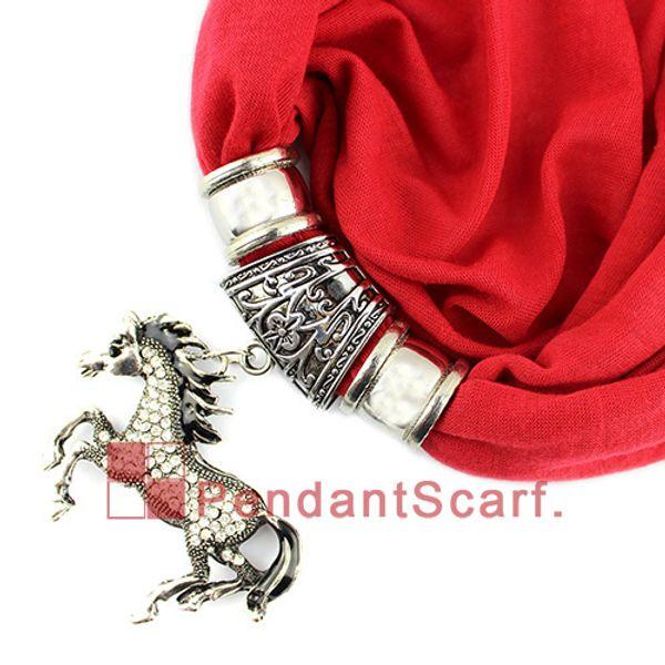 Nuevo Diseño Rhinestone Joyería Del Caballo Colgante Bufanda Moda Mujeres Perlas Borla Collar Suave Bufanda 20 Colores Disponibles, Envío Gratis, SC0044