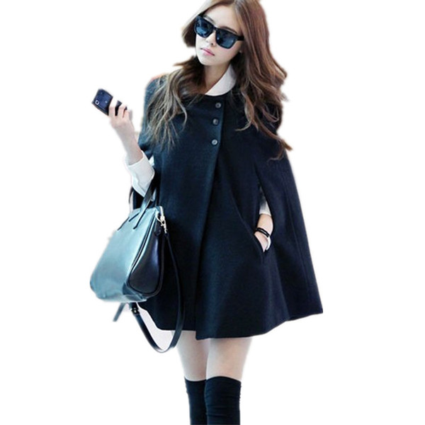 Atacado-Manteau femme 2015 Inverno Casual Cape Black Batwing Poncho Senhora Quente Casaco Trench Coat Para As Mulheres Cardigan Solto Outwear Blusas