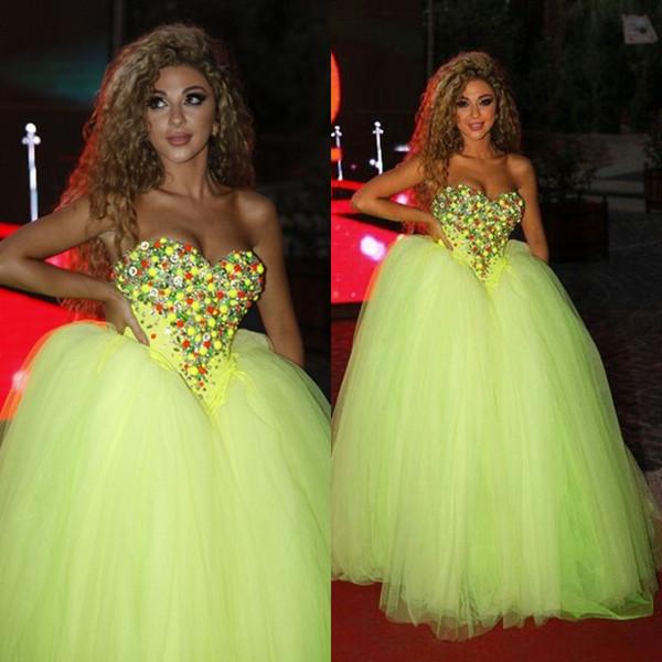 2015 New Myriam Fares Robes De Soirée De Célébrités Formelles Fluorescent Vert Chérie Perlé Top Tulle Longueur De Plancher Corset Robes De Bal
