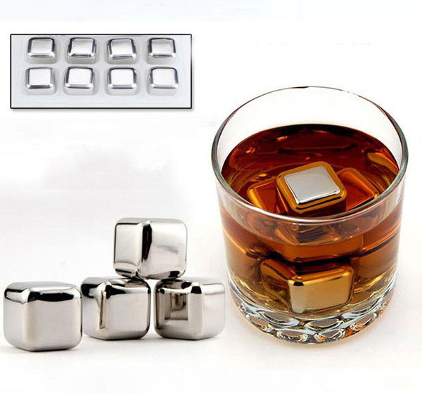 top popular 8pcs box Stainless Steel Whisky Stones Wine Ice Rocks Whiskey Beer Cooler Stone,Bar Tools Physical Cooling Ice Cube Viski Buzu 2021