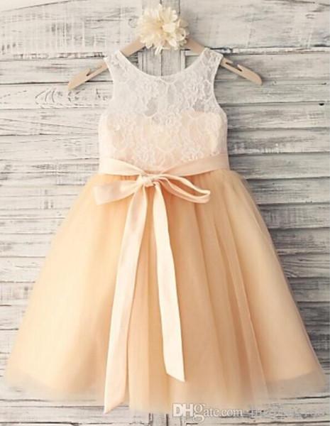 Roupas Infantis Menino Princess Champagne Knee-length Flower Girl Dress - Lace/tulle Sleeveless Halloween Easter Birthday Christmas Clothes