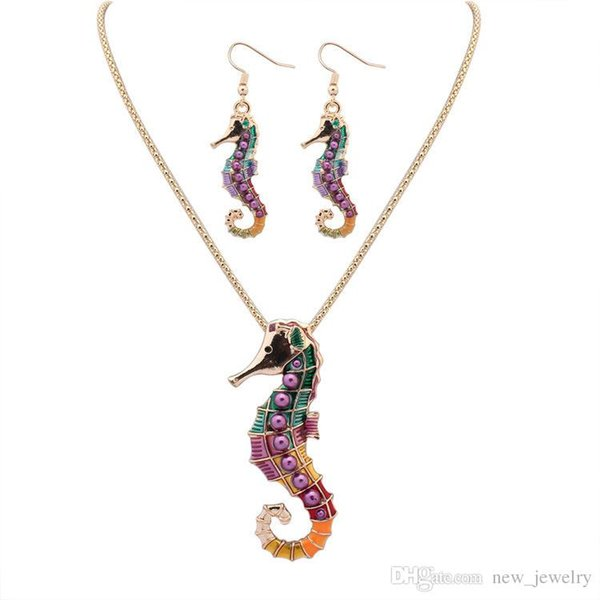 NEW free style 18KGP/925 silver Drip Rainbowful Sea horse with purple pearls hape jewelry set alloy necklace earrings accessories for women