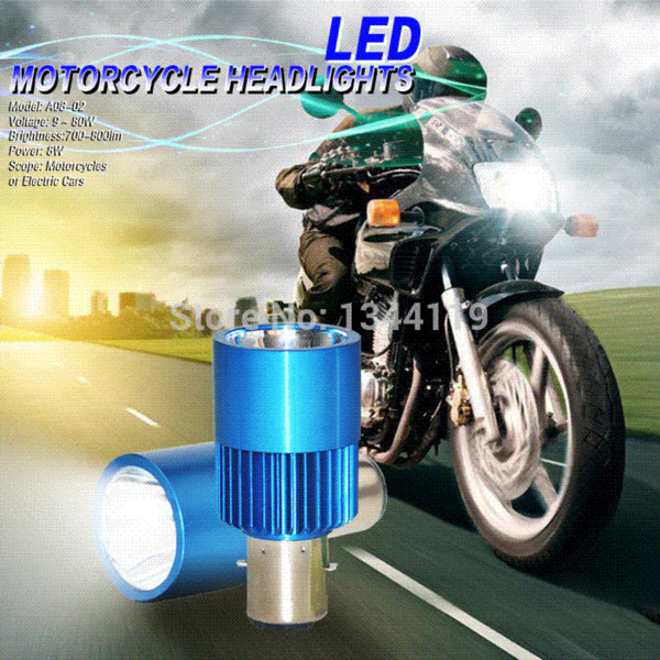 Free Shipping 2015 Cree 1 LED Motorcycle Motorbike Head Lamp BA20D Bike Fog Super White Light Moped Scooter ATV 8W 800LM 9V-80V