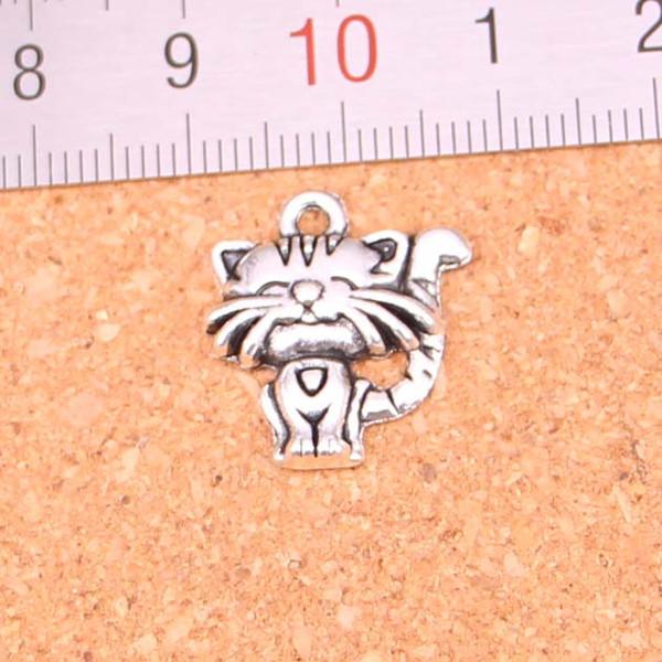 118pcs Antique silver Charms smiling cat Pendant Fit Bracelets Necklace DIY Metal Jewelry Making 19*17mm