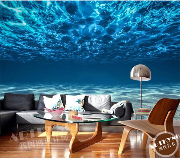 best selling Charming Deep sea Photo Wallpaper Custom Ocean Scenery wallpaper Large Mural Silk Wall painting Kids Bedroom Art Room Decor Home Decoration