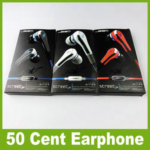 DHL 50 Cent SMS audio 50 mini cent in-earphone headphone Earbuds with Microphone STREET by 50 CENT with retail pack for iphone Samsung JF-A6