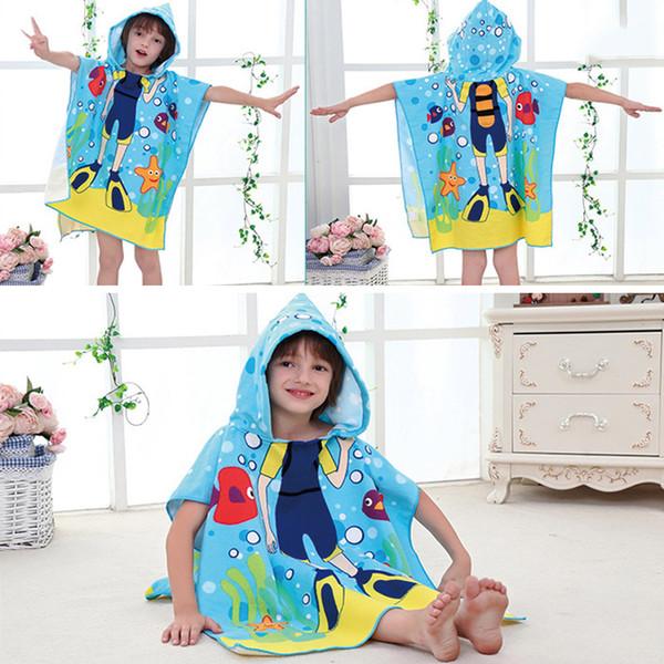 top popular Wholesale- Baby Bath Towel Children Hooded Towel bath baby Kids Boys Girls Cartoon Swimming Towel toalha baby de banho infantil 2020
