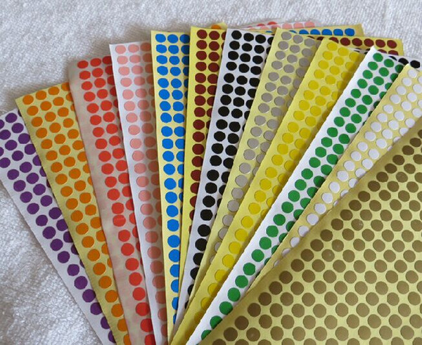 top popular latest full color small dot round 6mm paper label sticker in industry nail classify label 2021