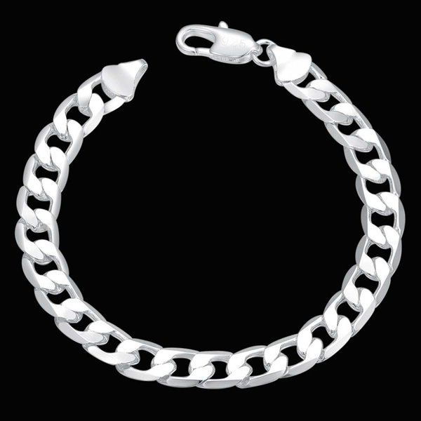 Hot Sale 925 Silver Plated Jewelry 6MM 8MM 10MM 12MM Flat Curb Chain Bracelet Men's Bracelet Jewelry FREE DHL