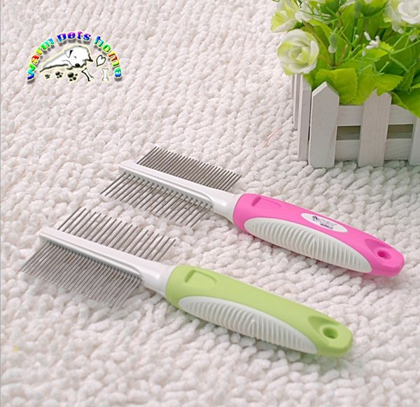CM902 Wholesale Pet Comb With Plastic Handle Stainless Steel Hair Removal Comb For Dogs Cats Goods For Pets