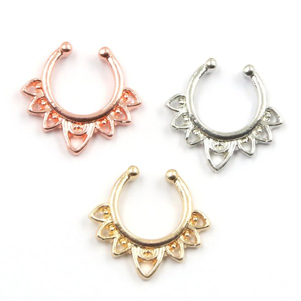 10pcs Hot Sale Variety Fake Septum Nose Rings Gold Faux Piercing Nose Studs Body fake Hoop Nose Ring For Women Septum Clip Jewelry