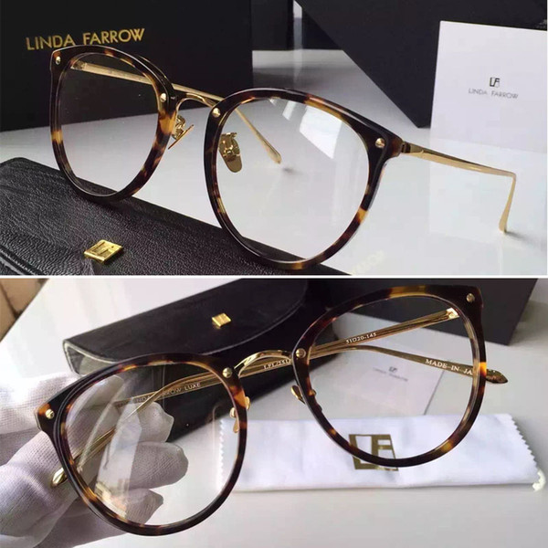 top popular 2016 New Linda Farrow High Quality Brand oculos LFL251 18K gold plating occhiali optical glasses women glasses de sol lunette de soleil 2021