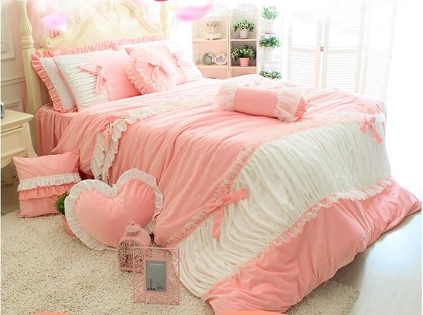 Korean garden short plush coral fleece velvet moon bedding sets 4pcs , full king queen bedclothes cotton bedspread pillowcase duvet cover