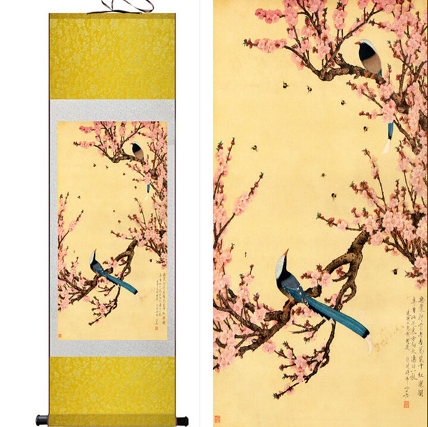 2018 Hd Printed Birds Cherry Tree Wall Pictures Chinese Scroll Silk ...