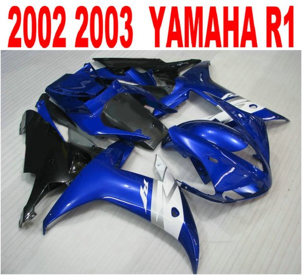 Customize injection fairings kit for YAMAHA R1 02 03 fairing body kits yzf r1 2002 2003 blue white black motobike parts LQ43