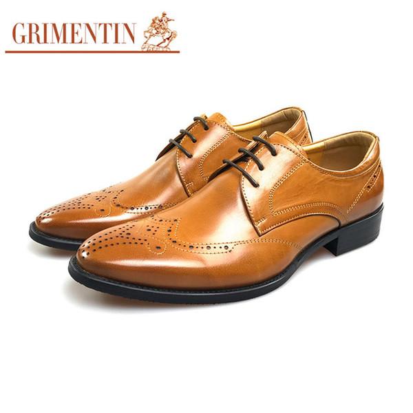 GRIMENTIN Hot sale fashion designer orange formal mens dress shoes genuine leather men oxford shoes Italian business office male shoes SD
