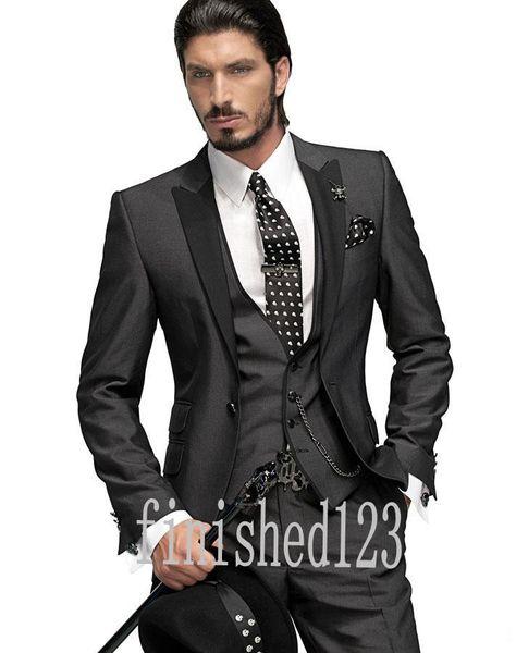 New Arrivals One Button Charcoal Groom Tuxedos Peak Lapel Groomsmen Best Man Wedding Prom Dinner Suits (Jacket+Pants+Vest+Tie) G5008