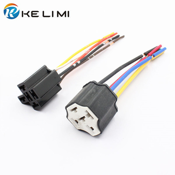 Car 5Pin Ceramic Relay Socket LED Light Bulb Pre-wired Harness Connector