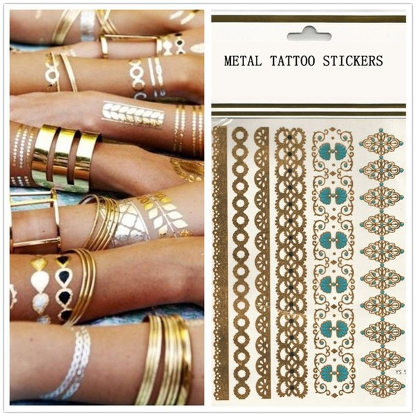 Golden Armbands Bracelets Maker Metallic Tattoo Jewelry Inspired Flash Tattoo Temporary Stickers Non-toxic 10 pcs/lot