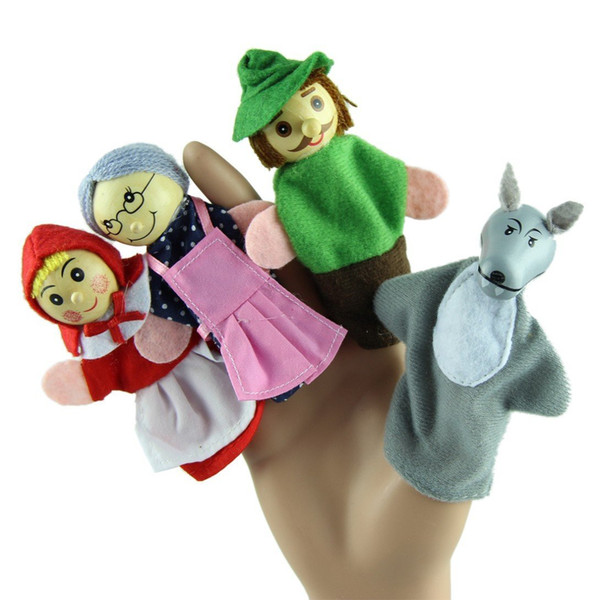 top popular Fedex Free ship Little Red Riding Hood Finger Puppets Toys 4 pcs set the Wolf Finger Puppets Educational Toys Storytelling Dolls 2021