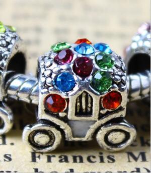 Free shipping 2015 fashion 7 colors zinc alloy inlay shiny rhinestone pandora charms beads alloy wheels for DIY making european hot sales
