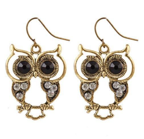 European Vintage Retro Art Deco Bronze Cute Hollow Owl Earrings Crystal Owl Charms Dangle Earrings Jewellery for women
