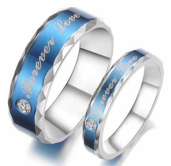 Edelstahl Zirkonia Classic Forever Love Paare Versprechen Ring Mens Womens Ehering Blau Silber US Größe 5-13 Drop Shipping