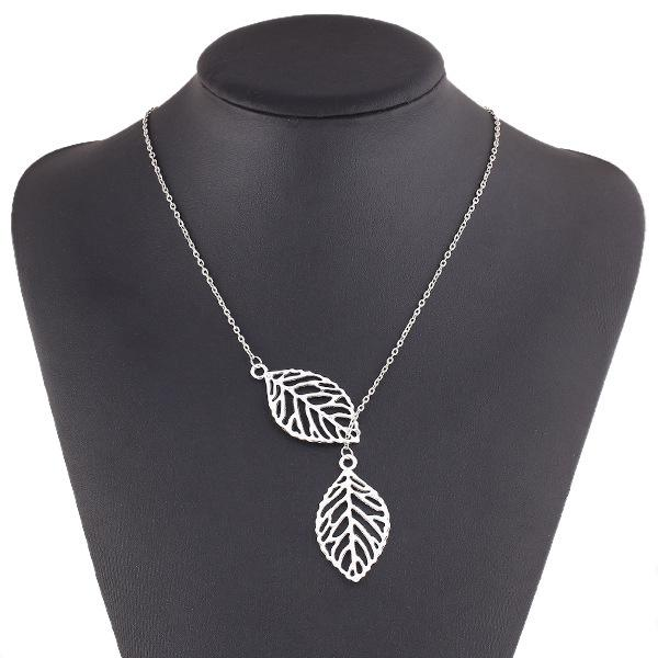 Pendant Fashion Charm Chunky Statement Bib Chain Choker Pendant Necklace Jewelry Simple Necklaces single layer leaves Leaf Chain Silver Gold
