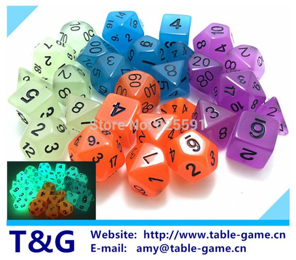 Wholesales 7pc/lot Glowing in the dark Dice Set D4,6,8,10,10%,12,20 Board Game
