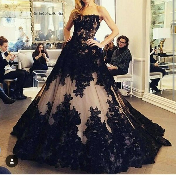 New Vintage Ball Gown Black Wedding Dresses 2016 Romantic Appliques ...