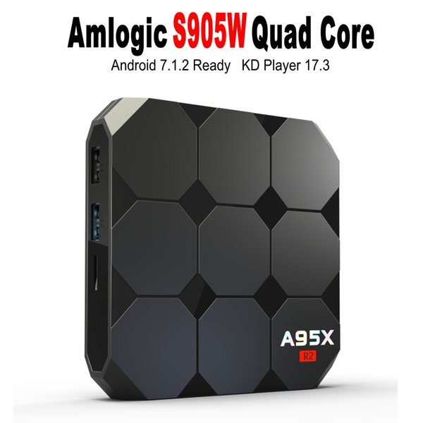 A95X R2 Amlogic S905W Android 7.1 TV BOX 2GB 16GB Quad Core LCD Display HD 4K Media Player Boxes Better X96 mini