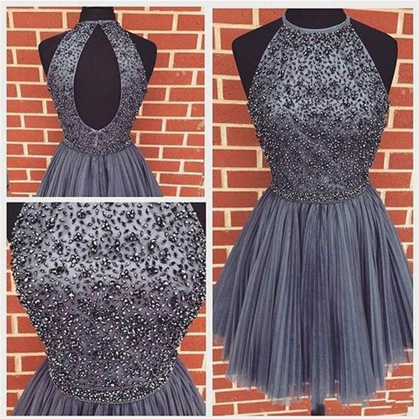 Modest Short Prom Dress Ball Gowns Tulle Beads Crystal A-Line Hollow Back 2018 cheap Party Homecoming Graduation dresses Club Wear Cocktail