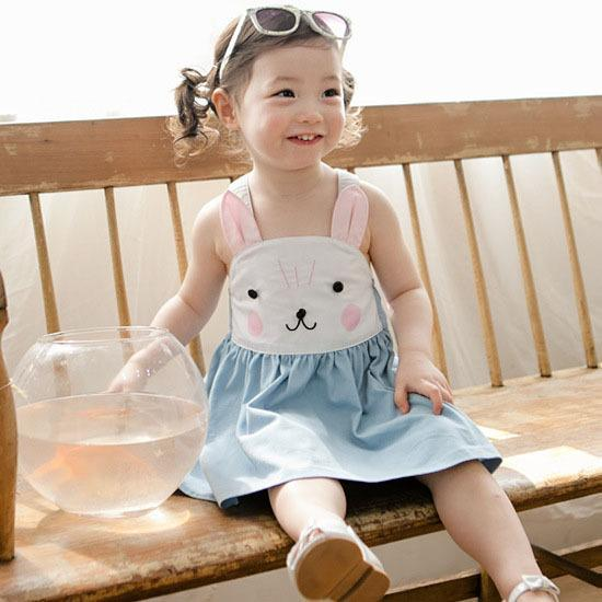 top popular 2016 Summer new girls pure cotton suspender bunny dress baby girl rabbit slip denim blue princess dress for 2-8years choose size free ship 2020