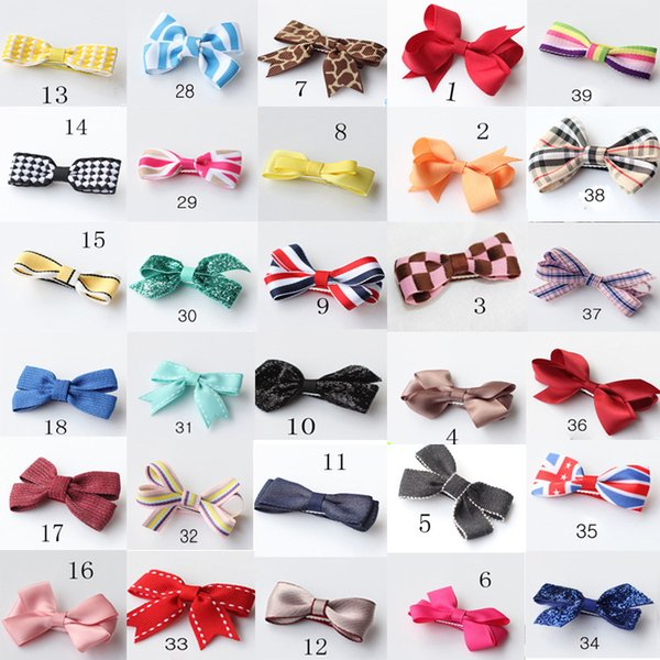 Baby Girls Bowknot hairpin Barrettes Children Christmas Hair Clip Kids Hair accessories 47 Colors 100pcs/lot