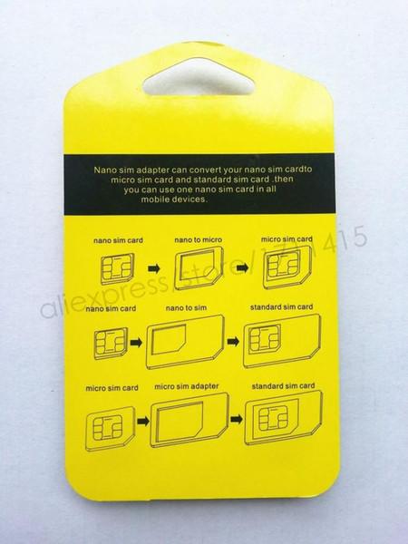 Al por mayor-Metal Nano SIM Card a tarjeta SIM Micro Convertidor adaptador estándar Expulsar Pin Set 5 en 1 para iPhone 4 4S Galaxy S4 S5 con venta por menor