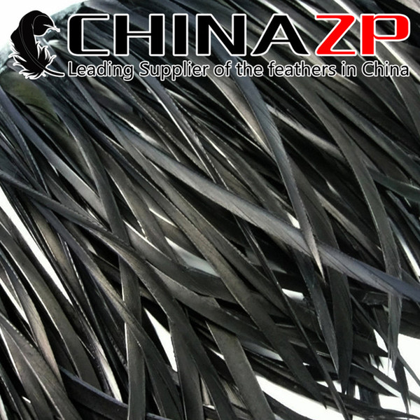 CHINAZP Crafts Factory 10yards/lot 15~20cm(6~8inch) in Width Graceful Dyed Black Stripped Goose Biot Feather Trim for DIY Decoration
