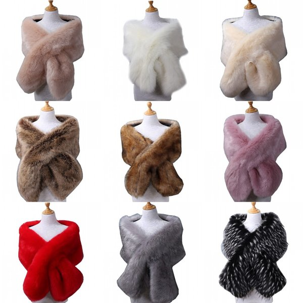 top popular 2019 New Bridal Stick Wraps Colorful Faux Fur Shawl Women Winter Wrap For Girl Prom Cocktail Party Cheap In Stock 11 Colors 2021