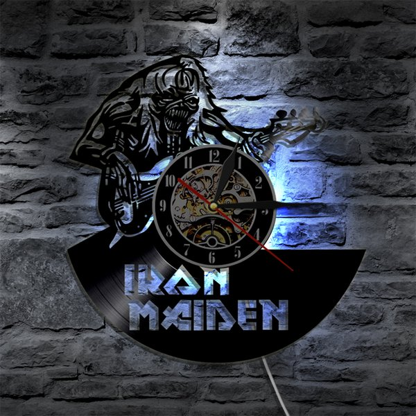 Iron Maiden Art Dekorative Wandleuchte Mit Uhr CD Vinyl Record LED Wandbeleuchtung Mit Farbwechsel Moderne Wohnkultur