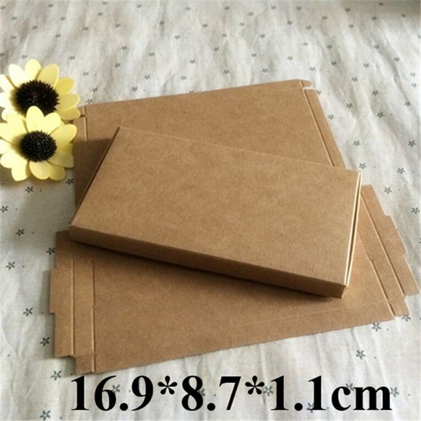 100pcs Retail Kraft Paper Boxes Gift Phone Shell Case Packaging Brown Box 16.9*8.7*1.1cm