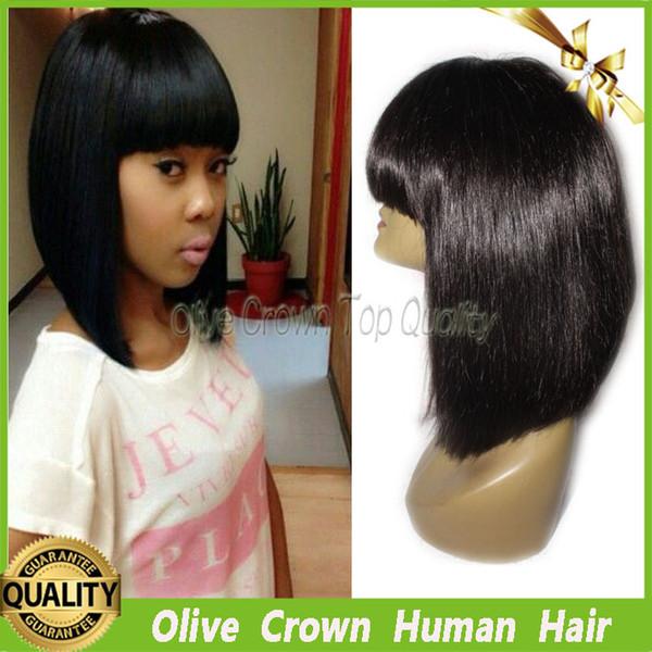 Brasileira Virgem Do Cabelo Humano Bob Full Lace Wigs 100% Não Transformados Cabelo Glueless Lace Front Peruca Em Linha Reta Com Franja Cheia