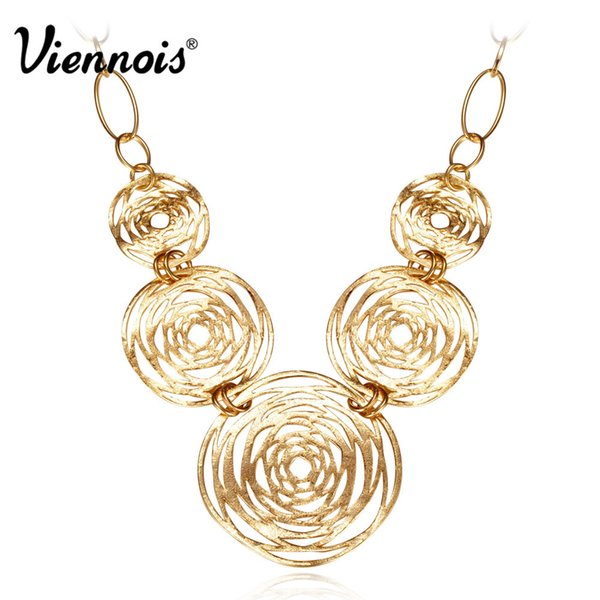 Hot Sale Viennois Gold Color Big Hollowed -Out Chain Necklaces For Woman Round Circle Necklace Gold Fashion Jewelry