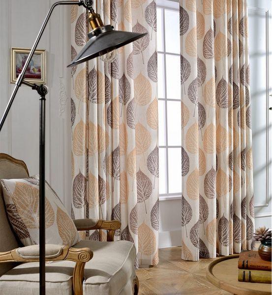2016 Customizable Modern Leaves Printed Window Curtains Semi ...