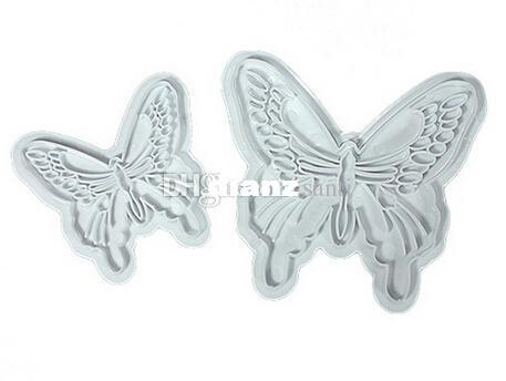 Fashion Hot 2pcs/lot Butterfly Cake Fondant Decorating Sugar craft Cookie Plunger Cutters Mold