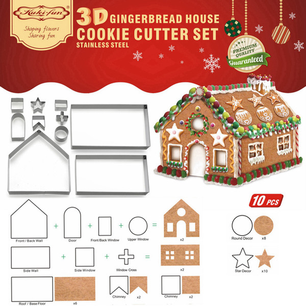 10pcs 3D Gingerbread house Stainless Steel Christmas Scenario Cookie Cutters Set Biscuit Mold Fondant Cutter Baking Tool