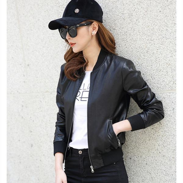 Wholesale- New Motorcycle Faux Leather Zip b Jacket Women Slim Short Design Autumn Leather Coat Female Clothing High Quality