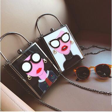 Creative Design Fashion Box Bags New Arrival Cartoon Chain Handbags Flap Novelty Women's Small Shoulder Bags Phone Bags