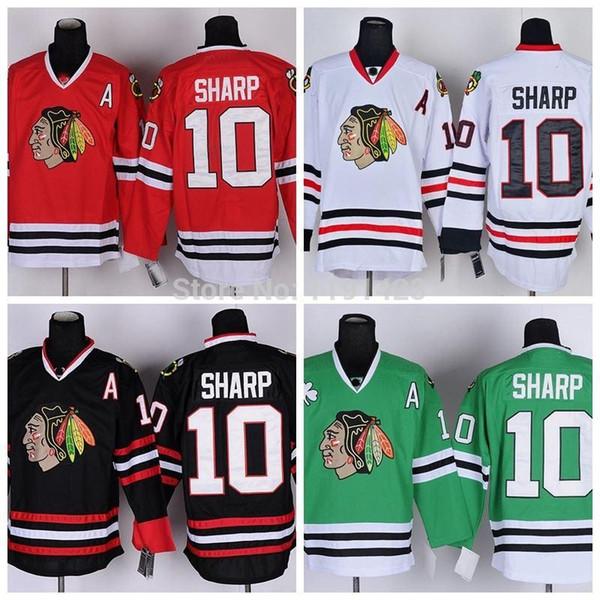 Chandail de hockey # 10 des Chicago Blackhawks à Chicago Patrick Sharp Jerseys Accueil Rouge Road White Troisièmes des maillots verts cousus A Patch