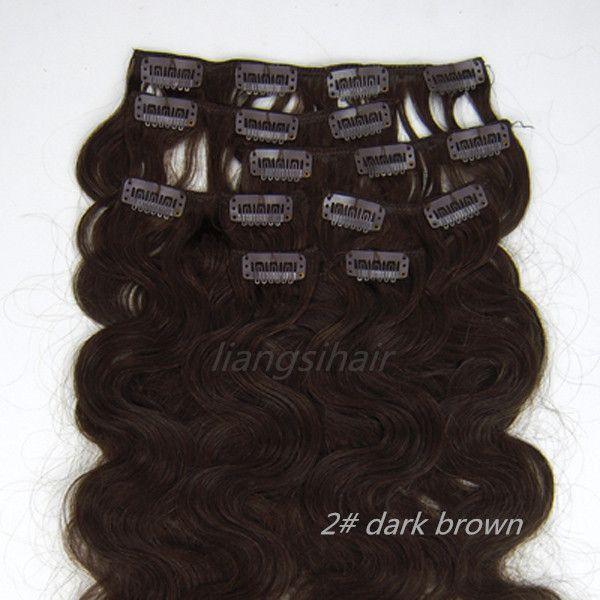 "Peruvian Clip in human Hair Extensions 15""-26"" 7pcs 2# Dark Brown Body Wavy Brazilian Peruvian Malaysia Remy human Hair Bundles"
